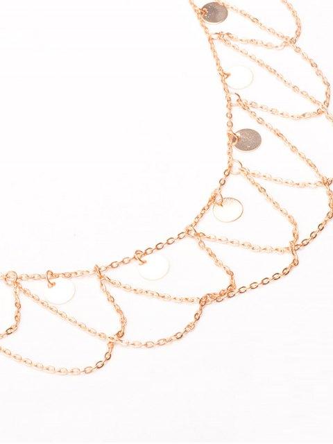 sale Round Sequins Tassel Wave Belly Chain - GOLDEN  Mobile