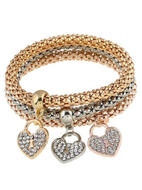 fancy 3 PCS Rhinestoned Love Heart Bracelets - GOLDEN  Mobile