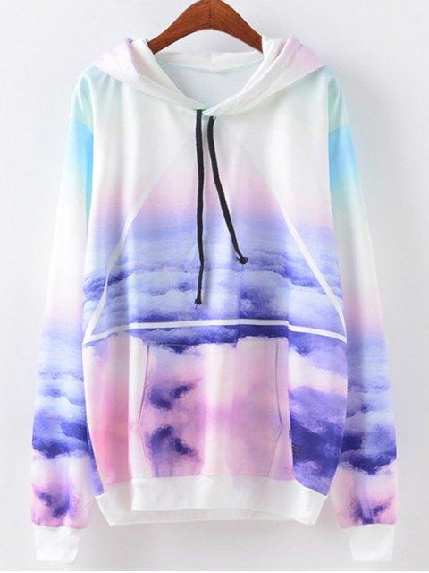 Hoodie imprimé ciel avec poche d'avant et corde - Multicolore M Mobile