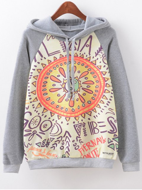 outfits Drawstring Eight Diagrams Print Hoodie - GRAY L Mobile