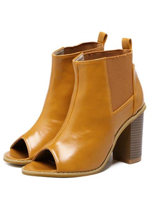 women's Peep Toe Chunky Heel Elastic Ankle Boots - BROWN 39 Mobile