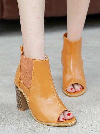 Peep Toe Chunky Heel Elastic Ankle Boots - BROWN 39 Mobile