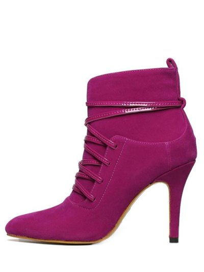 Cross Straps Zipper Pointed Toe Ankle Boots - ROSE RED 37 Mobile