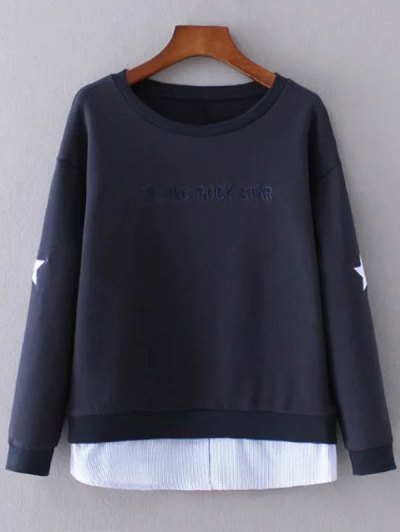 Star Pattern Layered Hem Sweatshirt - Purplish Blue