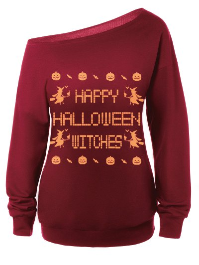 Witches Halloween Sweatshirt - RED XL Mobile