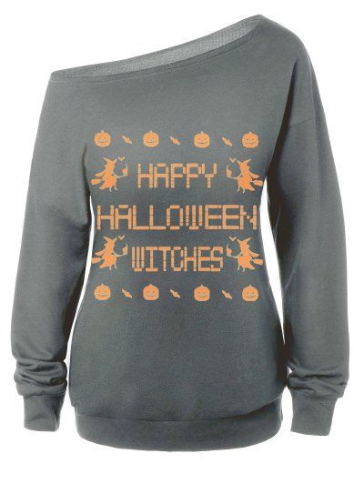 Witches Halloween Sweatshirt - GRAY L Mobile