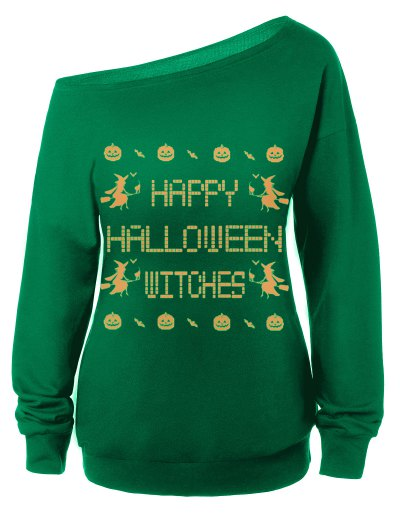 Witches Halloween Sweatshirt - GREEN L Mobile