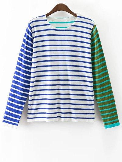 Striped Color Block Long Sleeve T-Shirt - COLORMIX S Mobile
