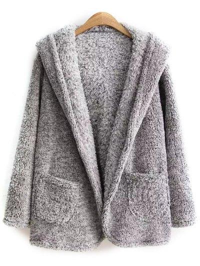 Hooded Fleece Coat - Gray