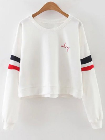 Contrasting Stripe Cropped Sweatshirt - White
