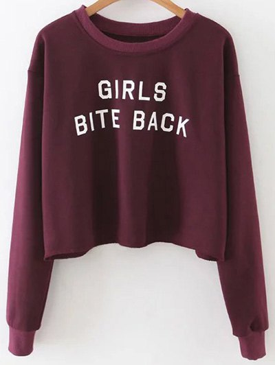 Letter Print Crop Sweatshirt - Wine Red