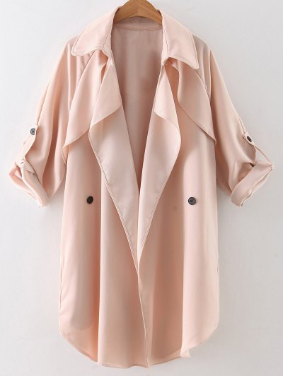 Buttoned Waterfall Trench Coat - Pink