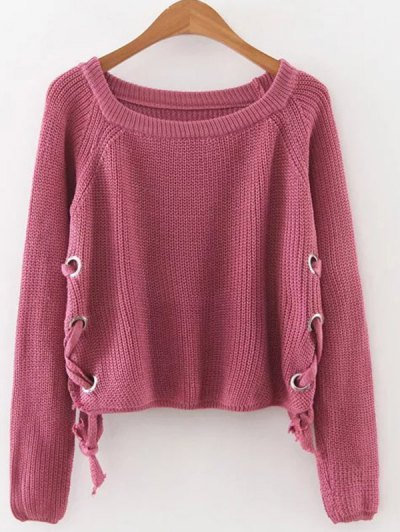 Grommet Lace Up Raglan Sleeve Jumper - Red