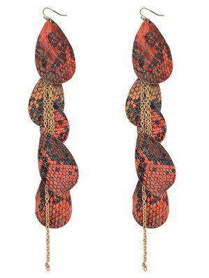 Snake Pattern Cluster Waterdrop Pendant Earrings - Red Orange