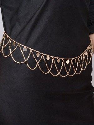 Round Sequins Tassel Wave Belly Chain - Golden
