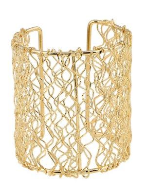 Polished Wave Filigree Cut Out Bracelet - Golden