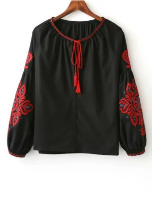 Embroidered Long Sleeve Smock Blouse - Black