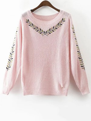 Leaf Embroidered Sweater - Pink