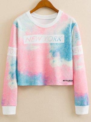 Letter Print Tie-Dyed Sweatshirt