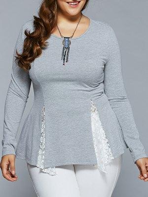 Plus Size Asymmetric Lace Spliced Blouse - Light Gray
