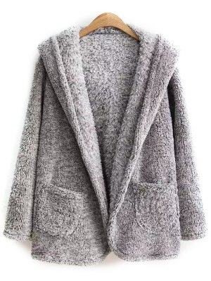 Hooded Fleece Coat - Gray