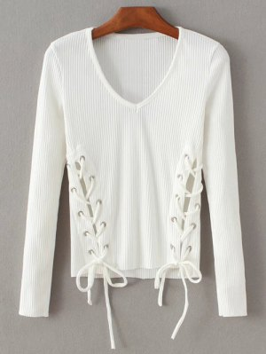 Grommet Lace Up Ribbed Jumper - White