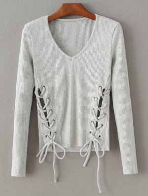 Grommet Lace Up Ribbed Jumper - Gray