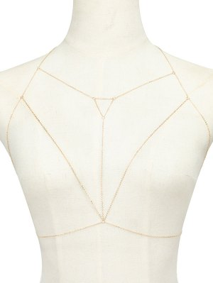 Alloy Hollow Out Triangle Body Chain - Golden