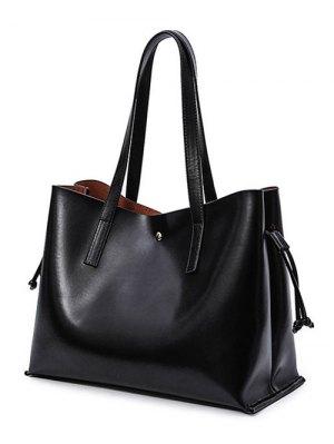 Drawstring Magnetic Closure PU Leather Shoulder Bag - Black