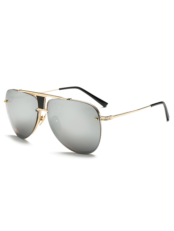 Hollow Out Pilot Mirrored Sunglasses