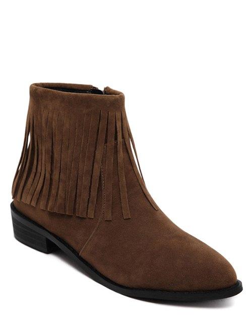 Fringe Flock Ankle Boots
