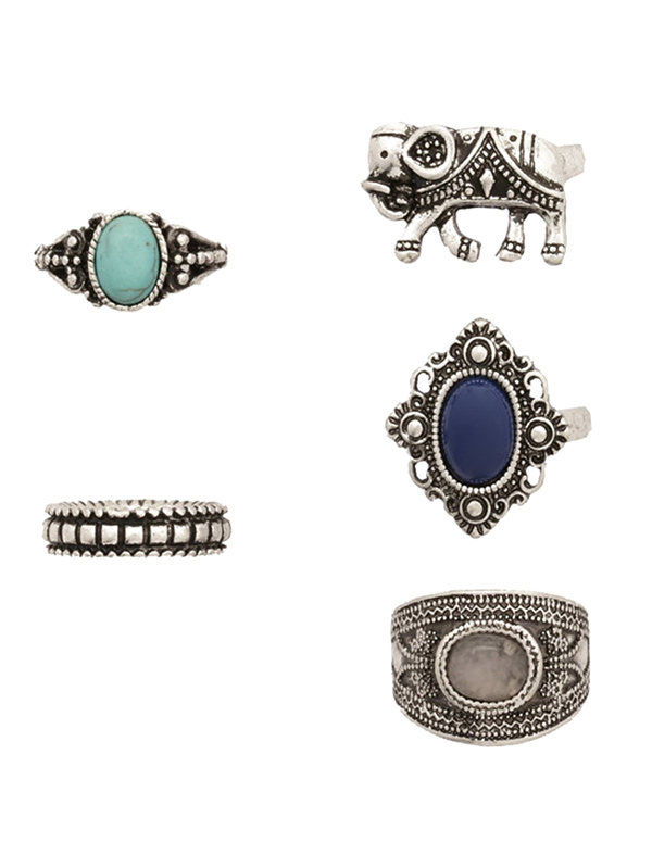 Faux Gem Elephant Rings
