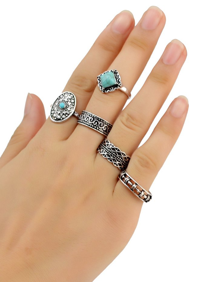Turquoise Geometry Rings