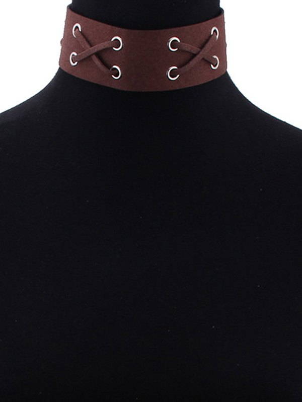 Vintage Faux Leather X-Shaped Choker Necklace