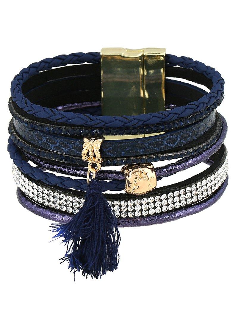 Faux Leather Rhinestone Tassel Bracelet