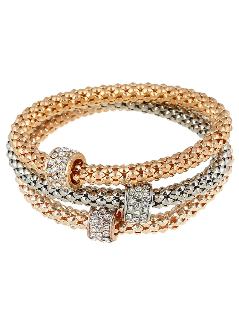 3 PCS Bead Rhinestone Alloy Bracelets