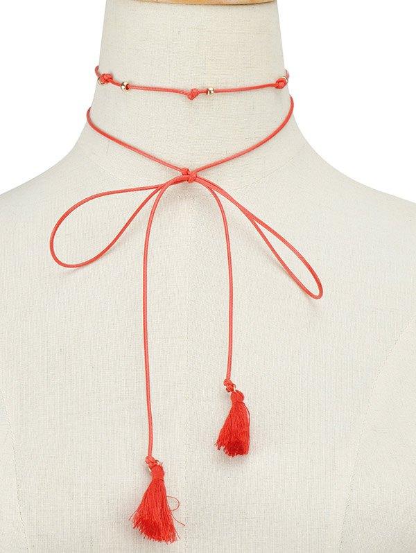 Faux Leather Rope Bowknot Tassel Choker