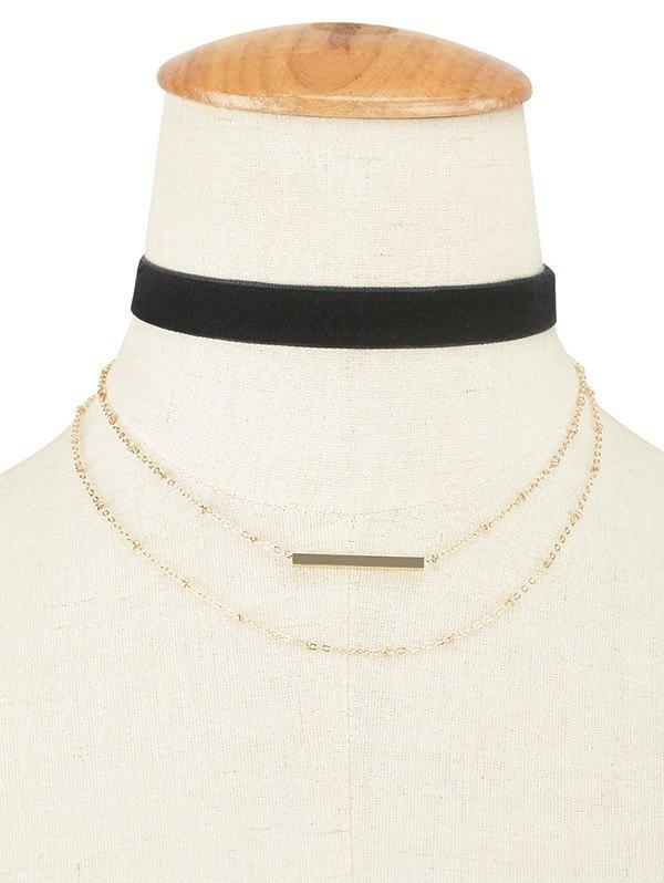 Velvet Layered Bar Pendant Choker Necklace