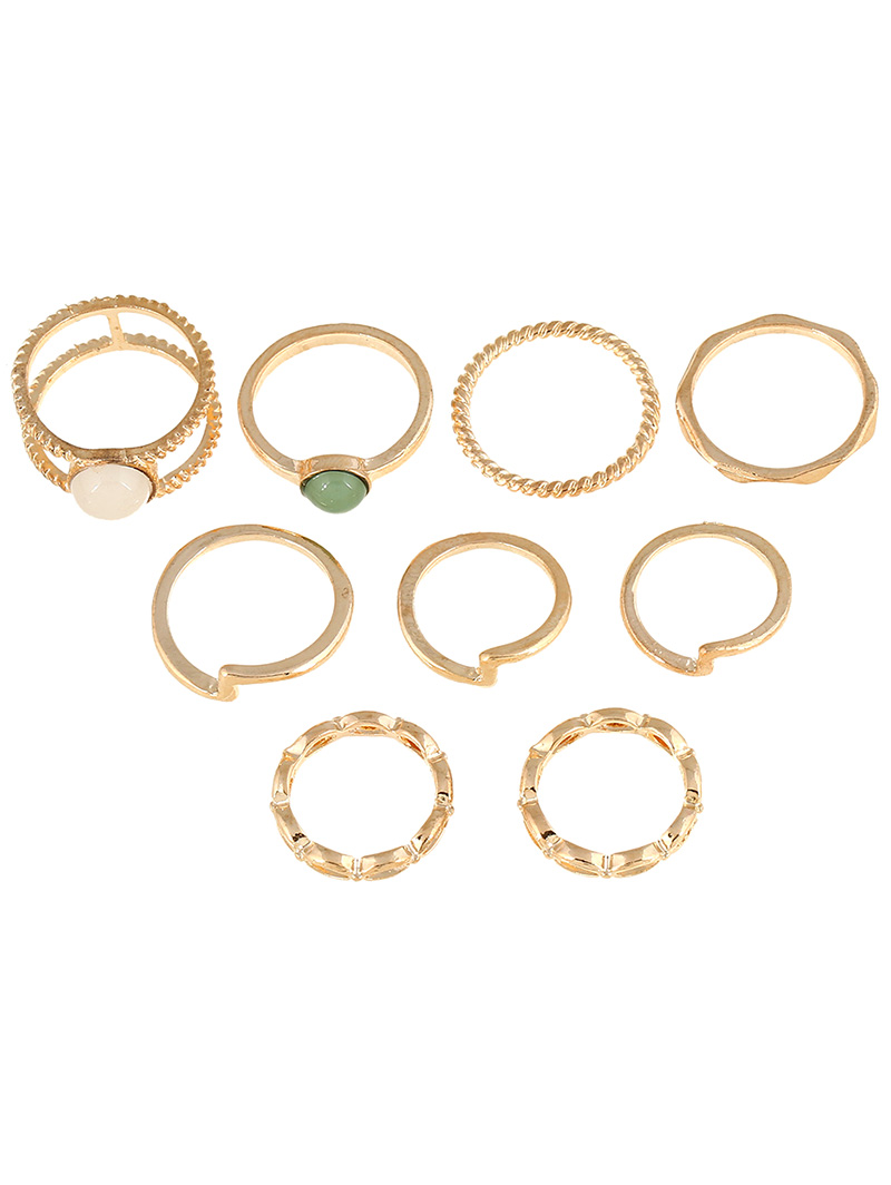 9 PCS Gold Plated Rings Suit
