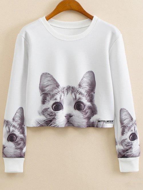 Cartoon Cat Print Jewel Neck Sweatshirt от Zaful.com INT