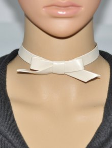 Buy Bowknot Faux Leather Choker - OFF WHITE
