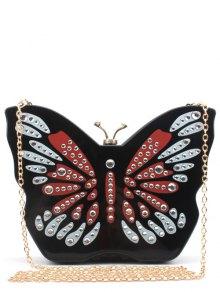 Buy Butterfly Shape Color Splicing Rhinestones Evening Bag - BLACK