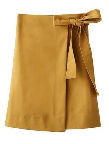Bowknot Asymmetric Slit Skirt