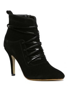 Buy Cross Straps Zipper Pointed Toe Ankle Boots 37 BLACK