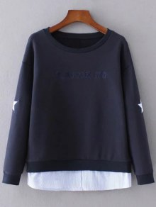 Star Pattern Layered Hem Sweatshirt