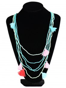 Multilayer Beaded Tassel Necklace