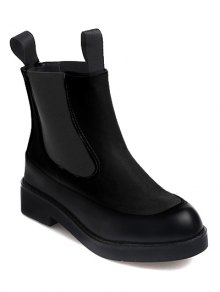Buy Elastic Band PU Leather Platform Ankle Boots - BLACK 38