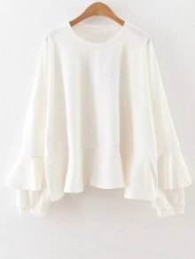 Buy Frilly Long Sleeve Top L WHITE