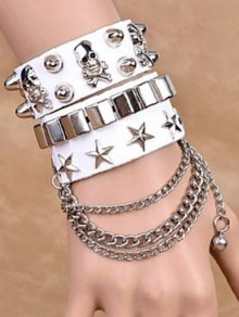Star Skull Rivet Chains Double Bracelets