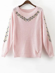 Leaf Embroidered Sweater